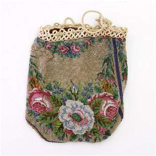 Pouch with flower garland, 2nd half of the 19th