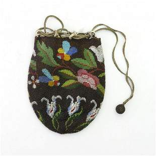 Pouch with stylised flowers, 2nd half of the 19th