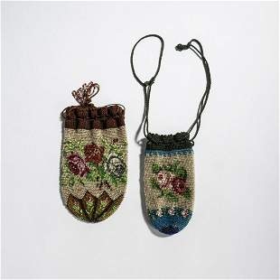 Two small pouches with roses, 2nd half of the 19th