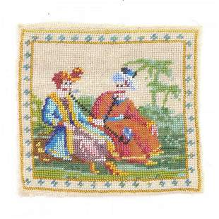 Beadwork with oriental scene, 2nd half of the 19th