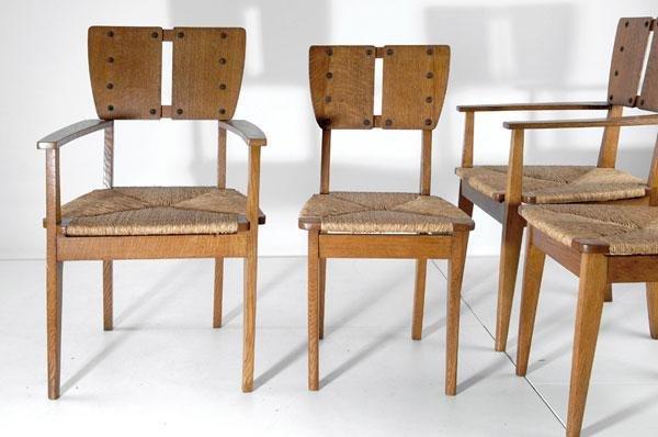 2: Gustave Serrurier-Bovy. Pair of 'Silex' chairs, desi