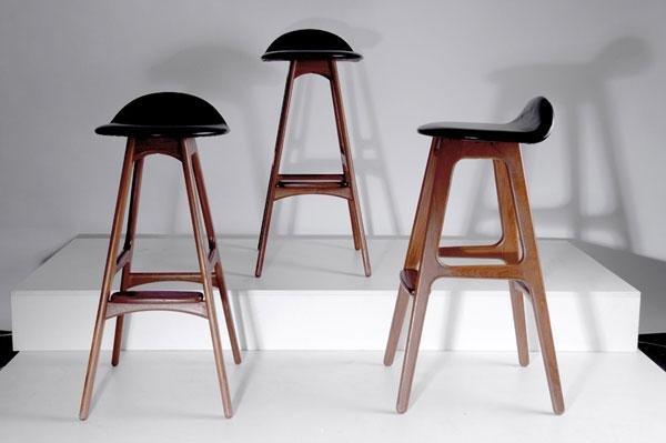 243: Erik Buck. Three bar stools, 1960s. H. 83.5 x 39 x