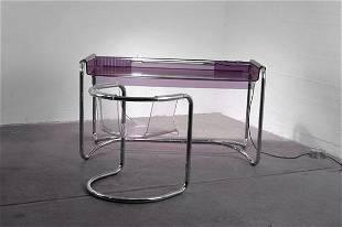 294: Fabio Lenci. Perspex writing desk with chair, desi