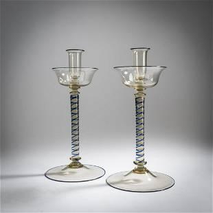 Murano, Pair of candlesticks, c. 1925