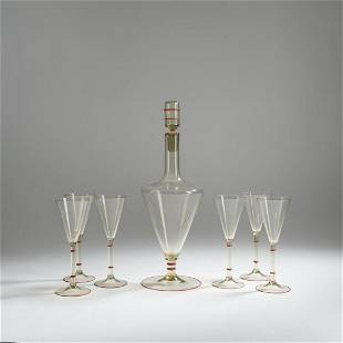 Murano, Carafe with six goblets, c. 1930