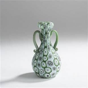 Fratelli Toso, 'Murrine' vase with handles, c. 1905