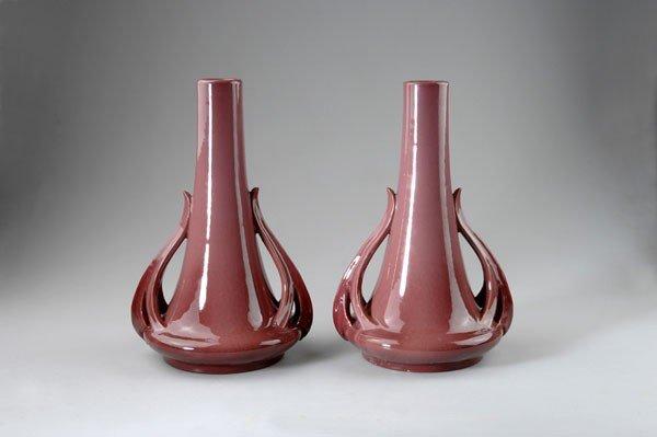 280: Delphin Massier, Vallauris. Pair of vases, circa 1