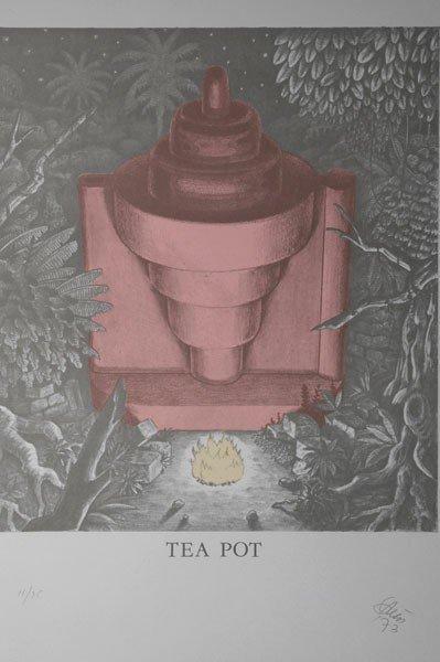 8: Ettore Sottsass. Lithograph 'Tea Pot'. 51 x 41,8 cm
