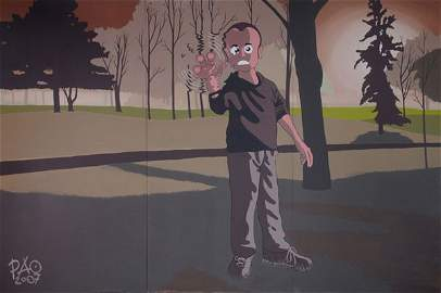 125: PAO. Painting, 2007. Three-parted. 200 x 300 cm. A
