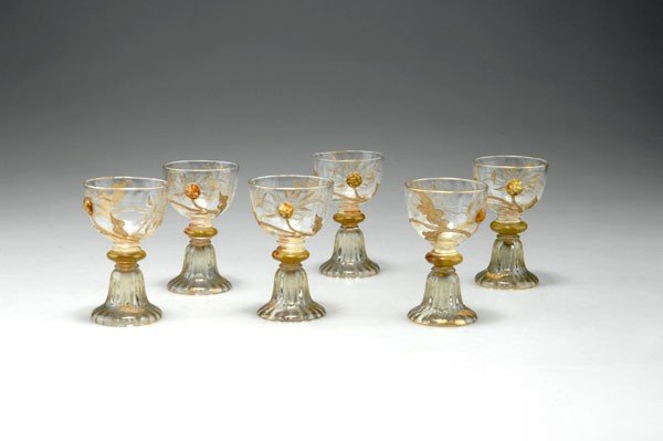 Emile Galle, Nancy. Six 'Chrysanthemes' liquor glasses,