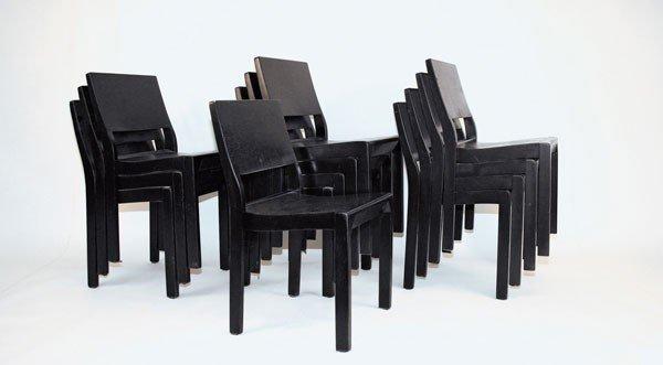 Alvar Aalto. Twelve '611' stacking chairs, designed in1