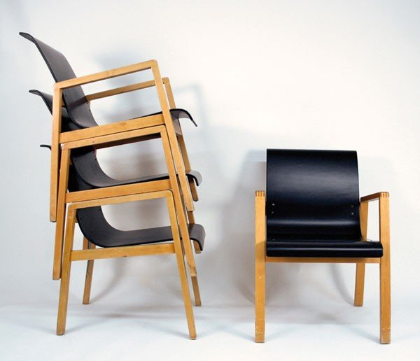 Alvar Aalto. Four '403' stacking armchairs, designed in