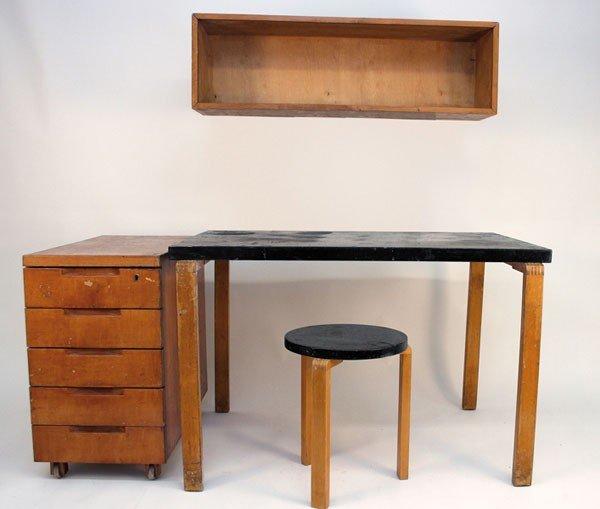 Alvar Aalto. Desk, container, shelf and stool, designed