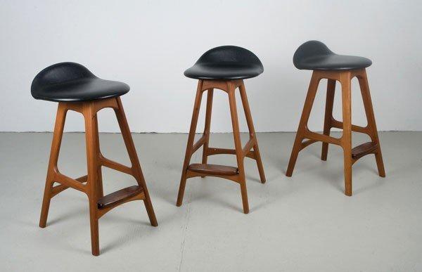 Erik Buck. Two 'OD 61' bar stools, designed circa 1964.