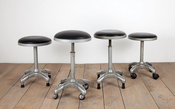 Milan. Four stools, designed in the 1930s. H. 46 cm; Dm