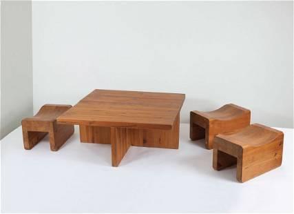 Sofa table and three 'Utoe' stools