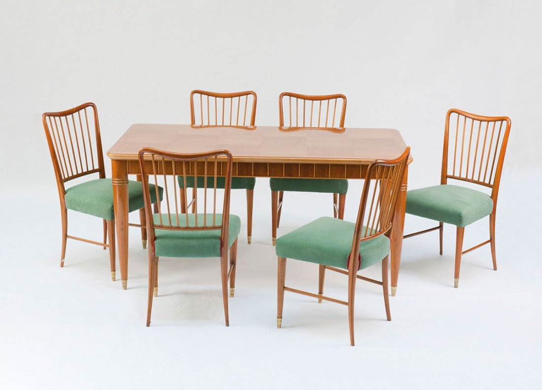 Table and six chairs, 1940s