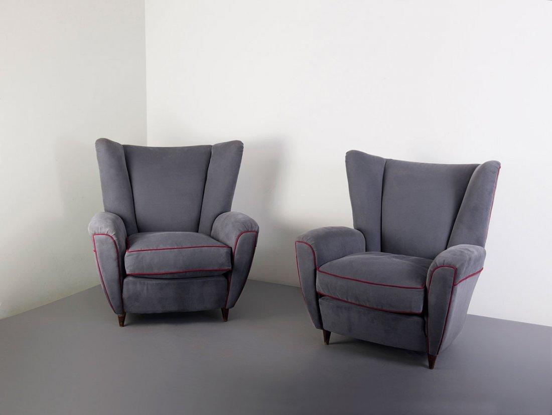 Pair of easy chairs, 1940s