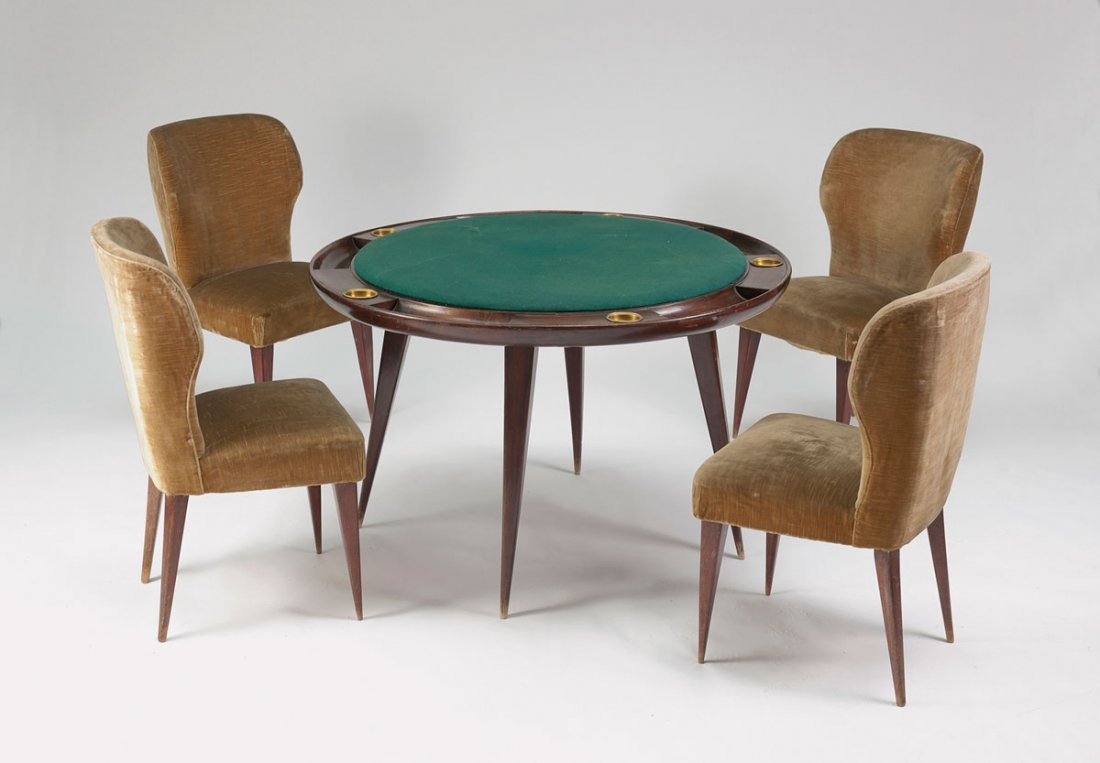 Poker table and five chairs, c1942.