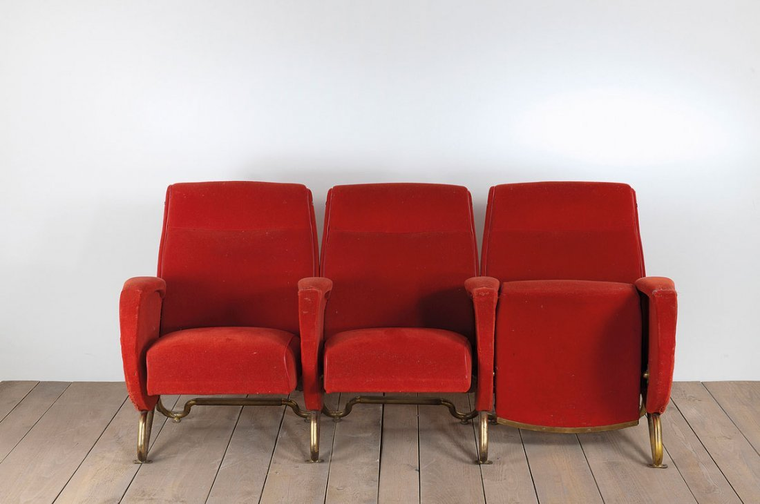 Tier of three chairs from the 'Auditorium RAI' in Turin