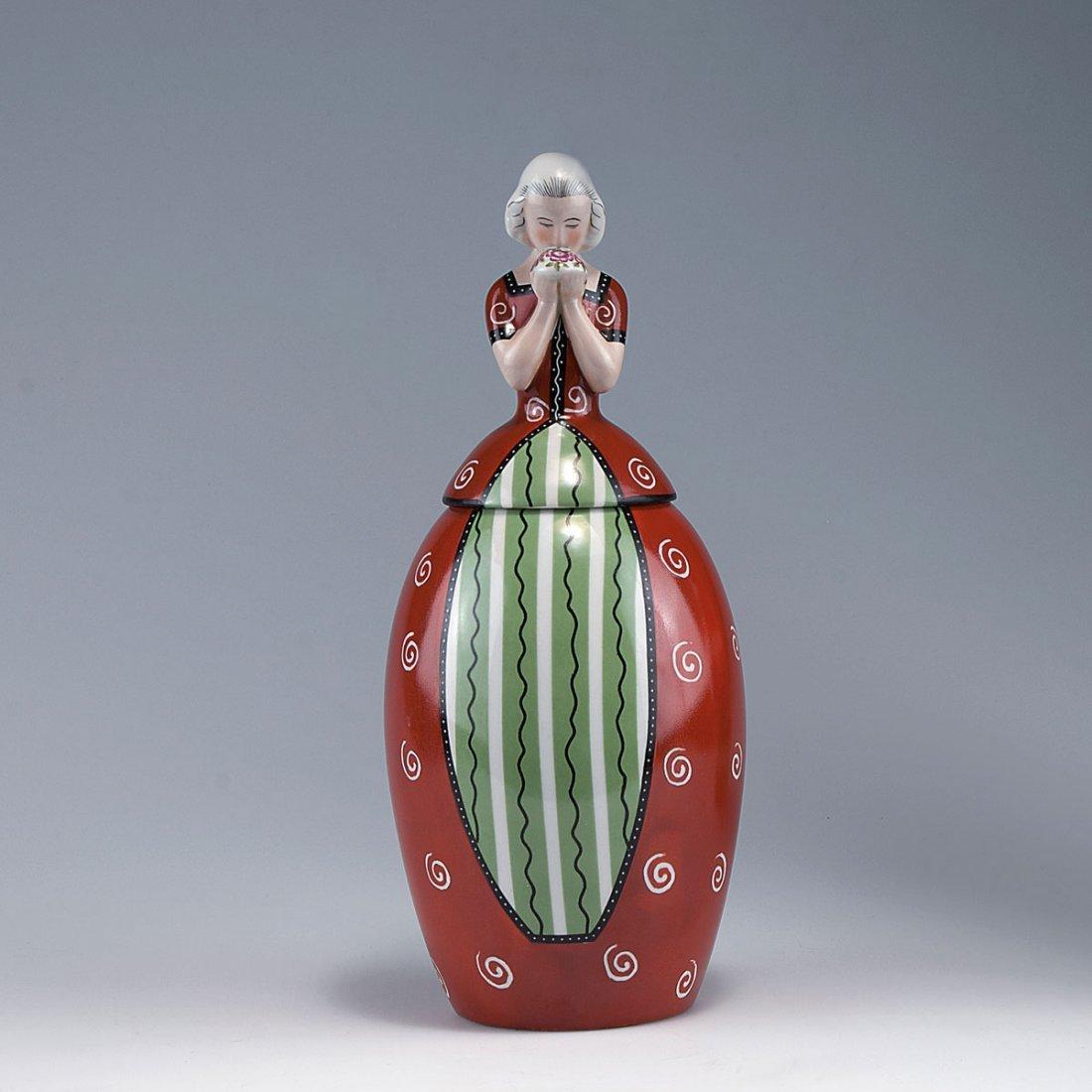 Figurative covered vase, c1927