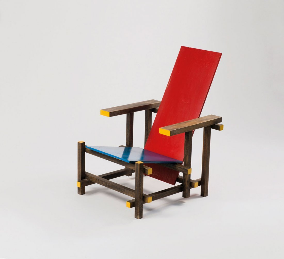 'Red and blue chair'