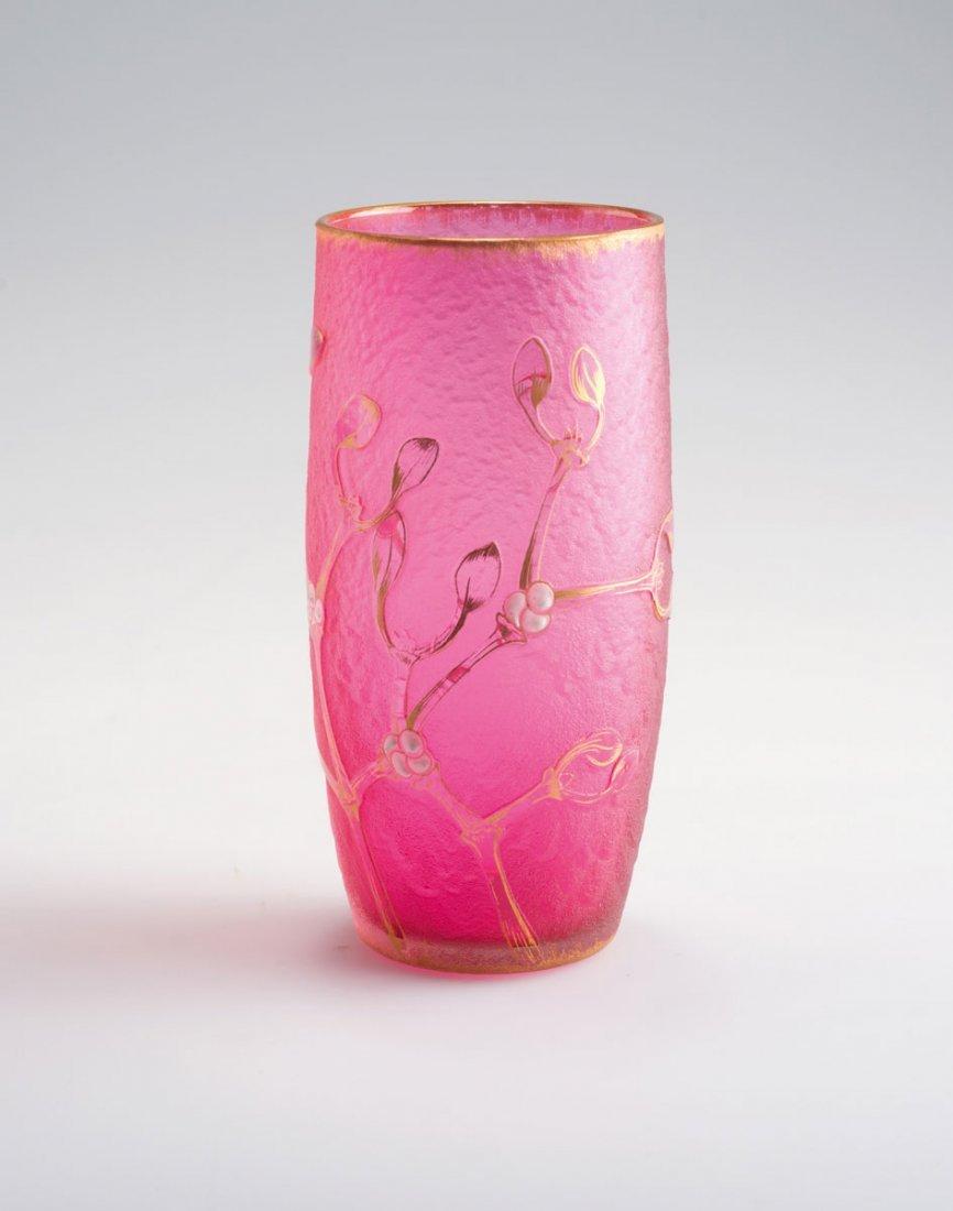 Daum Freres, Nancy. 'Gui' vase, c1894. H. 12.6 cm.