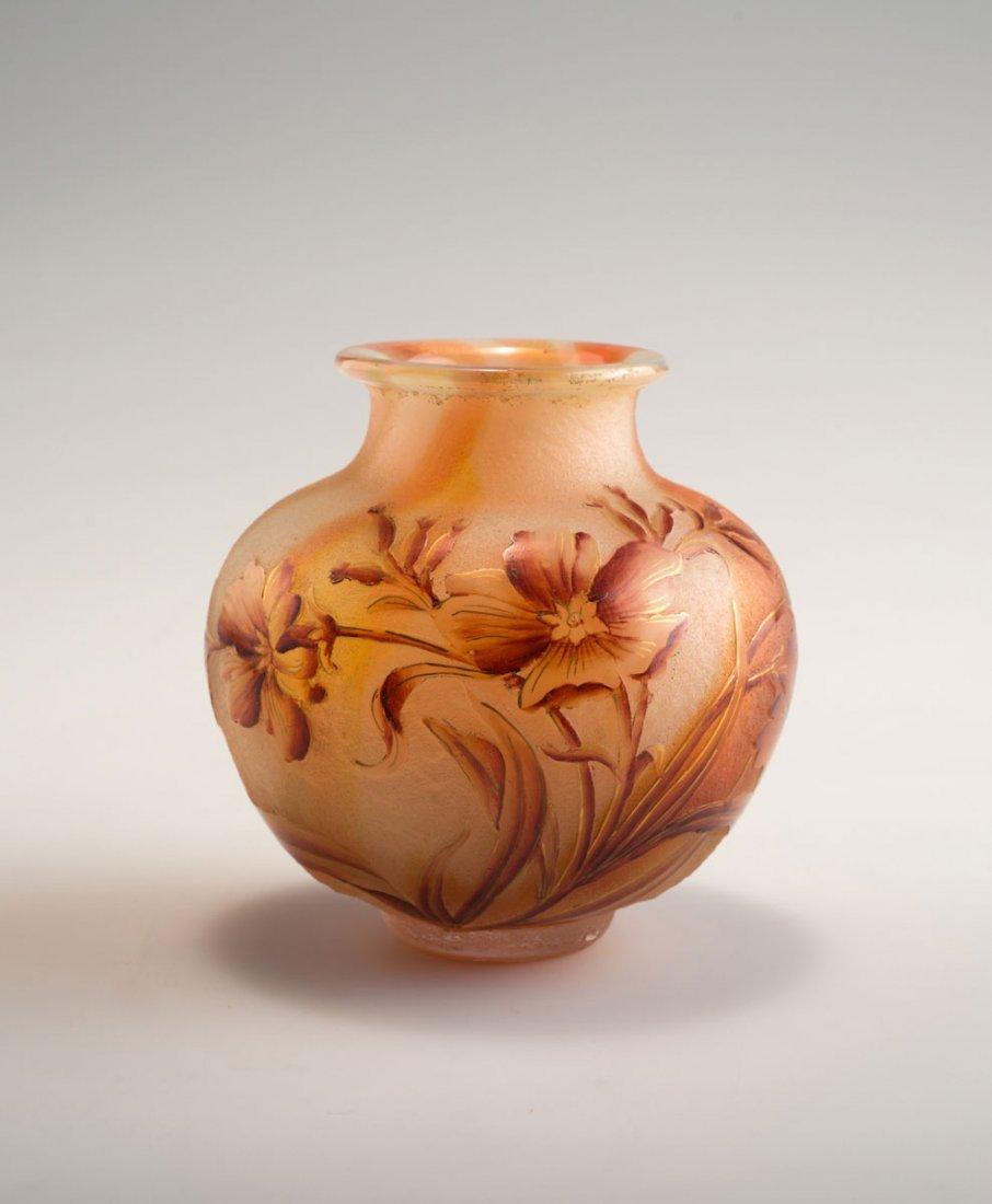 Daum Freres, Nancy. 'Primevere' vase, c1898. H. 9.8 cm.