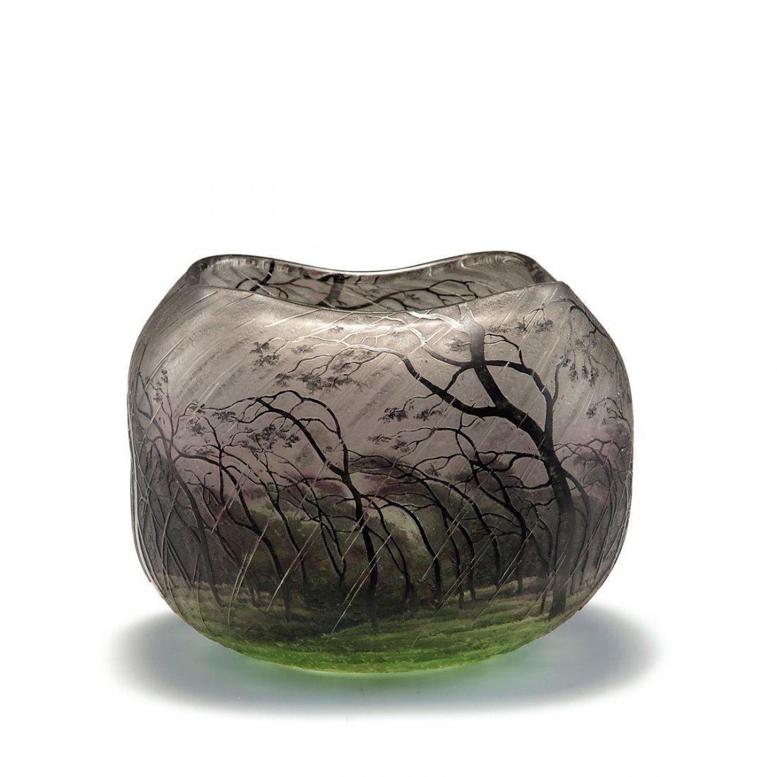 Daum Freres, Nancy. 'Pluviose' vase, c1900. H. 11.5 cm.