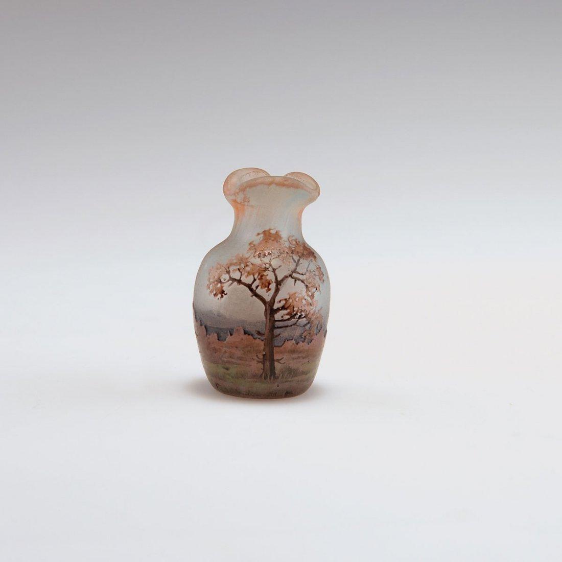 Daum Freres, Nancy. Miniature 'Arbres en automne' vase,