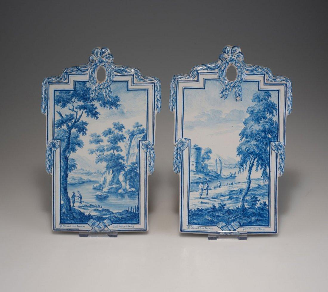 Emile Galle, Nancy. Pair of decorative tiles, c1875.