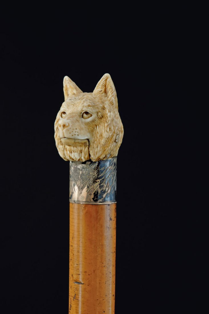 Mechanical walking stick, wolf's head. Ivory handle.
