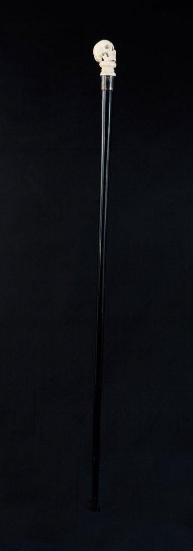 Walking stick. Carved skull on a base. Ivory, silver - 4