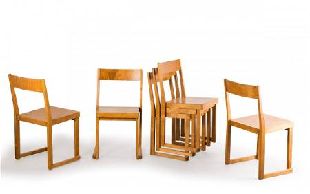 Sven Markelius. Six Stackable chairs, 1932. H. 81 x