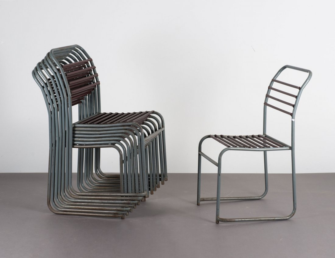 Eight stacking chairs, 1930s - 2