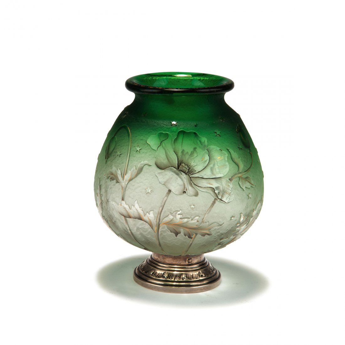 'Pavot' vase with silver mounting by Malvezieux-Aine,