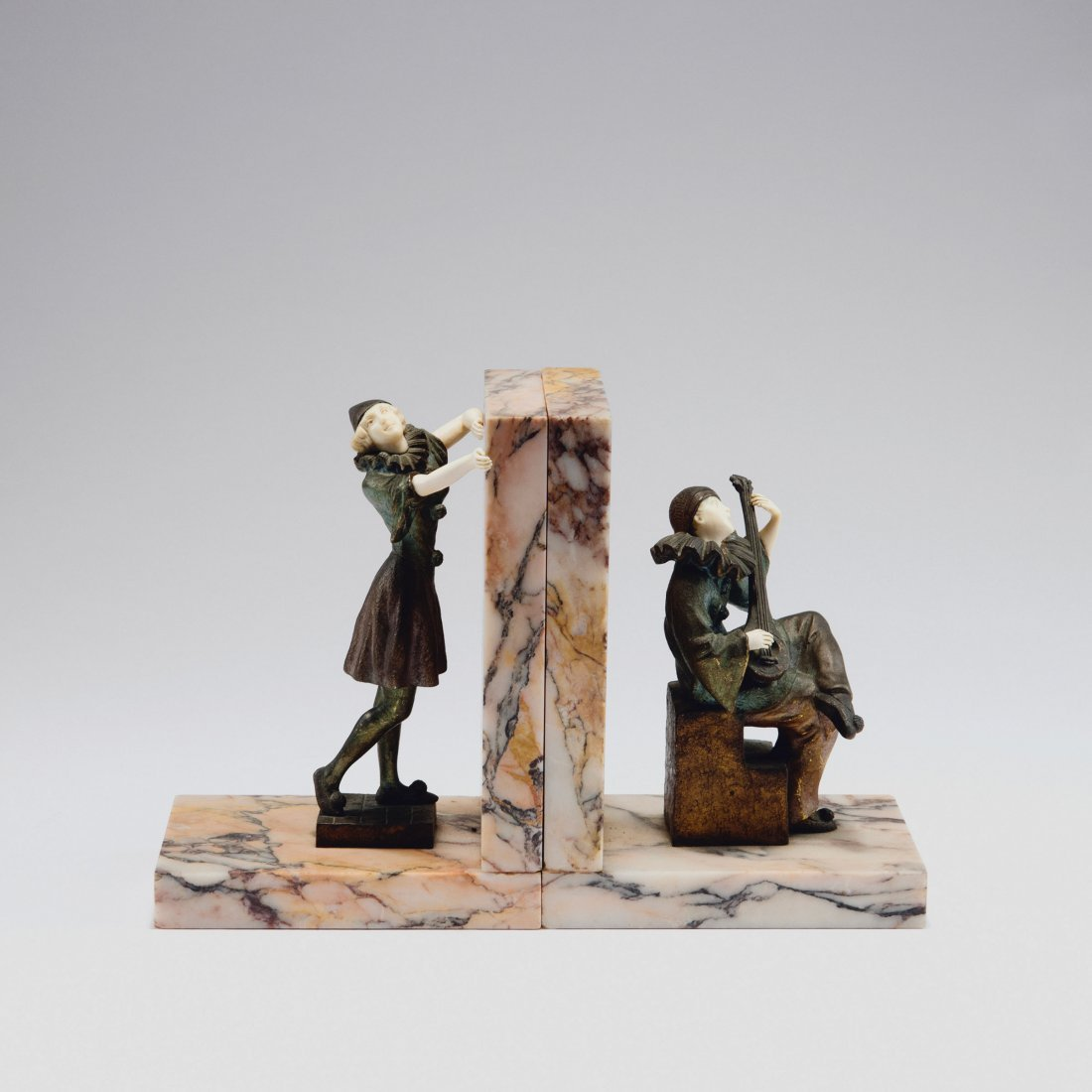 Pair of bookends 'Pierrot' and 'Columbine', c1925