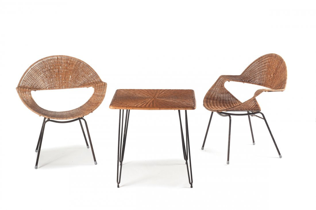Two wickerchairs and a table, c1956