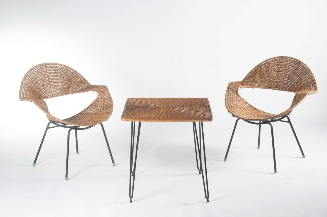 Two wickerchairs and a table, c1956 - 2