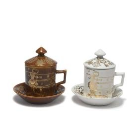 Two 'Gioalli' chocolate cups with lid and saucer,