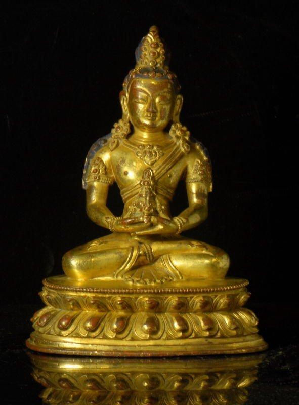 18th/19th C Tibetan Or Chinese Gilt Bronze Buddha