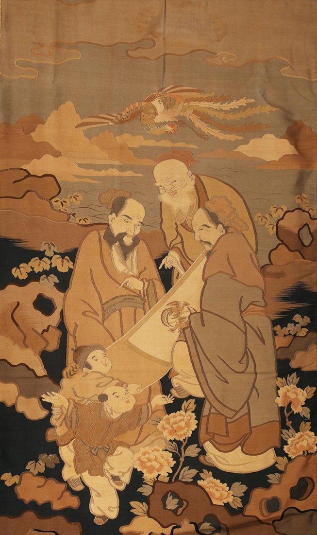 Chinese Kesi 'Three Immortals' Textile, 19th Century