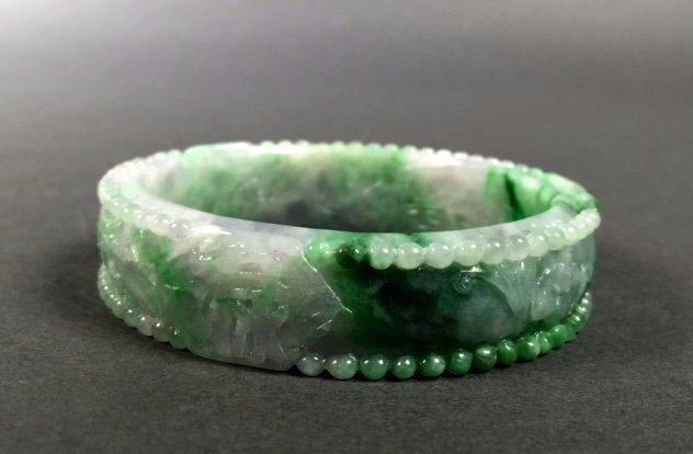 A  Chinese Natural Grade A Jadeite Bangle - 2
