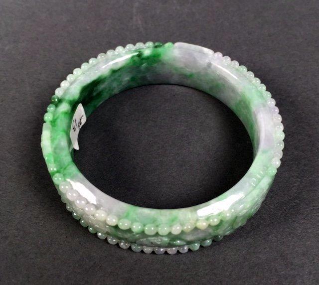 A  Chinese Natural Grade A Jadeite Bangle - 3