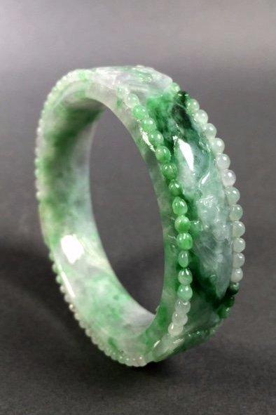A  Chinese Natural Grade A Jadeite Bangle - 4