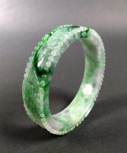 A  Chinese Natural Grade A Jadeite Bangle - 5