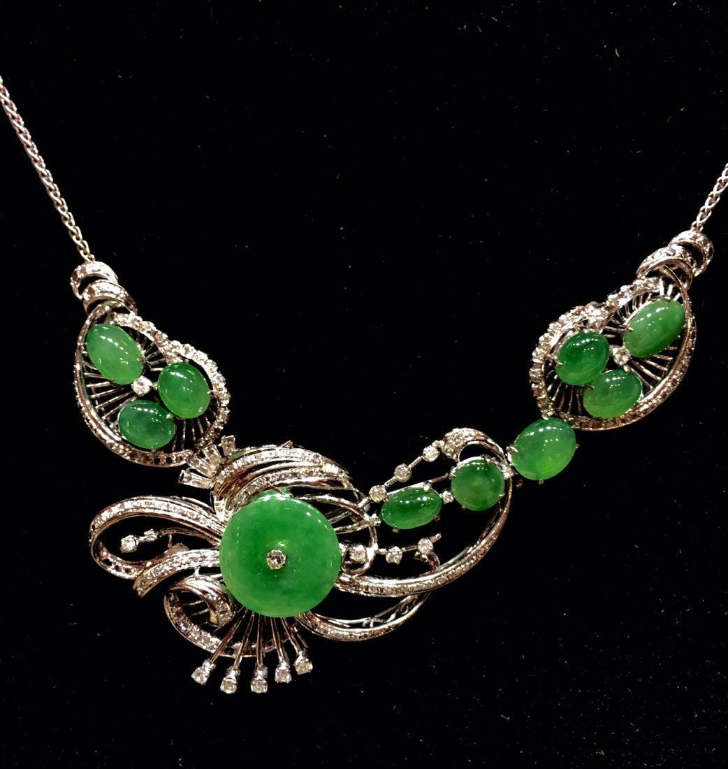 GIA Certified Natural Chinese Jadeite Necklace G/D