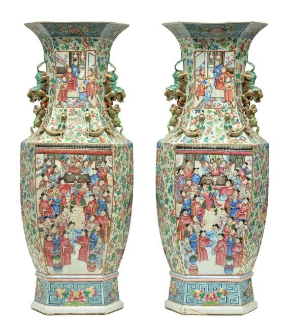 An exceptional pair of Chinese hexagonal vases, famille