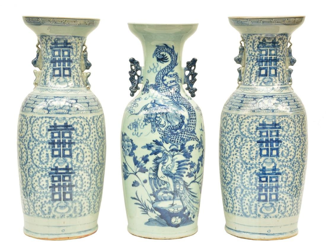 A pair of Chinese celadon ground blue and white