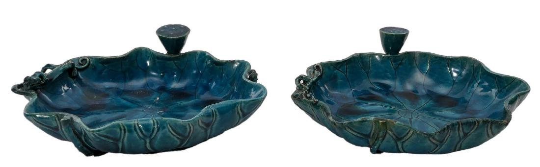 Two Chinese blue monochrome glazed waterlily shaped